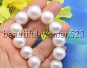 Z7986 Huge 16mm White Round Freshwater Cultured Pearl Necklace Magnet 17inch