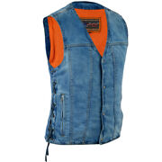 Mens Single Back Panel Conceal Carry Denim Vest W/ Side Laces For Mc Looks -ma40