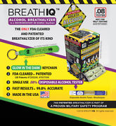 Breath Iq Testers In Glow In Dark Key Chains .08 Alcohol Single Use Fda Approved