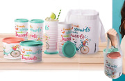 Tupperware Spanish Picnic Lunch Set 2 X Canisters 4x16-oz Tumblers Seals Bag New