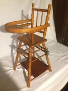 Antique French Faux Bamboo Maplewood Folding Doll High Chair