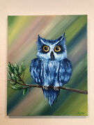 Owl Bird In The California Oil Signed On Canvas