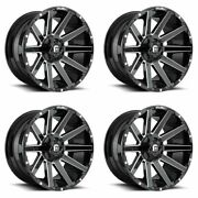 Set 4 22 Fuel Contra D615 Gloss Black Milled For Ford Wheels 22x12 8x170 -44mm