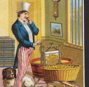 Uncle Sam Empire 1800's Clothes Wringer Gold Coin Victorian Household Trade Card