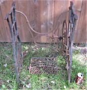 Antique New Home Cast Iron Sewing Machine Patio Garden Table Stand No Marble Top