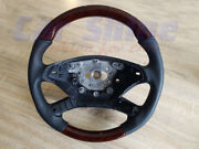 Mercedes W221 Wood And Leather Steering Wheel - Dark Walnut On Black Perforated Le