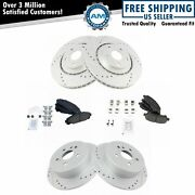 Front And Rear Posi Ceramic Brake Pad And Performance Drilled Slotted Coated Rotors