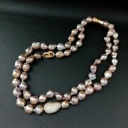 23 2 Strands Natural Cultured Purple Keshi Pearl Necklace Cz Pave Connector
