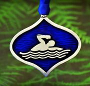 Swimmer Christmas Ornament In Christmas Decorations In Fine Pewter