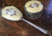Antique Sterling Silver And Enamel Crystal Jewelry Box And Matching Handheld Mirror