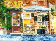 Brunch Acrylic Painting Original Art Street Cafe Bistro Italy Lunch Food 36x48