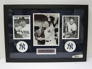 Joe Dimaggio And Mickey Mantle Autographed Matted Framed 8x10 Photo W/ Paas Coa