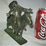 2 Antique Cast Iron American Indian War Horse Toy Statue Bookend Paperweight
