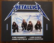 Metallica All 4 Vintage Band Signed Autographed 14x18 Display Beckett Certified