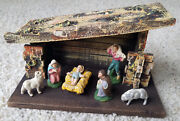 Antique Vintage Early 20th Century Christmas Holiday Nativity Creche 9piece Set