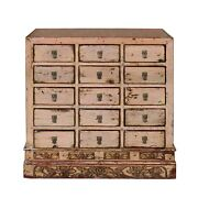 Chinese Distressed Mauve Beige 15 Drawers Medicine Apothecary Cabinet Cs4602