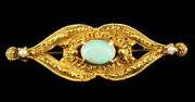Antique Victorian 14k Gold .3ct Fire Opal Seed Pearls Ornate Design Pin 1.5