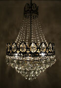 Antique French Basket Style Brass And Crystals Large Chandelier From 1950and039s