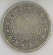 Newfoundland 1885 50 Fifty Cents Iccs Certified Vg-10 Queen Victoria