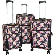Betty Boop Three 3 Pc Expandable Rolling Travel Luggage Set Multi Faces