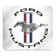 Ford Mustang Circle Logo White Graphic Pc Mouse Pad - Custom Designed For Gaming