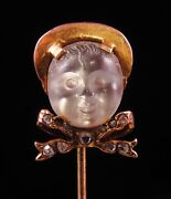 Antique 14k Gold Victorian Carved Moonstone Baby With Diamond Ribbon Stick Pin