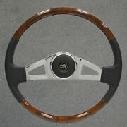 New 18 In. Vip25 Chrome And Leather/wood Bluebird Bus Steering Wheel