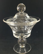 Antique Etched Cut Glass Compote Dish Lidded Padden 444 Covered Clear Mcm