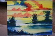William Verdult Oil On Paper Painting Landscape Titled Peaceful Place