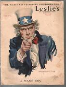 Leslieand039s Illustrated Weekly 2/15/1917-j. M. Flagg I Want You Cover-g/vg