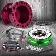 Purple 6-hole Steering Wheel Hub Adapter+green Quick Release For 88-91 Civic/crx