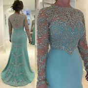 Long Sleeves Mother Of The Bride/groom Dresses Shiny Beads Crystal Evening Gown
