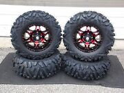 Yamaha Grizzly 660 27 Quadking 14 Hd7 Red Atv Tire And Wheel Kit Irs1ca