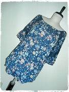 Eden And Olivia Bohemian Boho Navy Floral Lace Accent Peasant Style Blouse 2x
