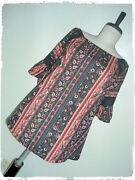 Eden And Olivia Bohemian Boho Striped Paisley Lace Accent Peasant Style Blouse 1x