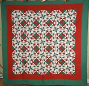 Amazing Vintage 30and039s Carpenterand039s Wheel Star Hour Glass Antique Quilt Colorful