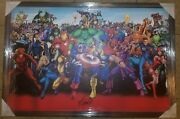 Stan Lee Signed 35x50 Framed Avengers Canvas Stan Lee Holo This Canvas Is Awsum