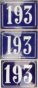 Large Old Blue French House Number 193 Door Gate Wall Street Sign Plate Plaque