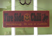 Fire Side Chili Five Alarm Kicking It Up A Notch Sign Rustic Farmhouse Primitive