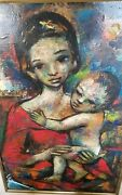 Large Ozz Franca Madonna And Child Original Signed Oil Painting --beautiful