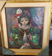 Ozz Franca Carnival Big Eyed Young Girl Original Oil Painting