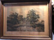 """Antique Original Currier And Ives Print """"return From The Pasture"""""""