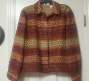 Alfred Dunner Red, Rust And Tan Sparkling Thread Embelished Button Front Jacket