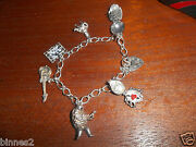 The Beatles 1964 Sterling Silver Charm Beetle Bracelet 6 Charms + Lock + Chain