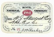 National Mail Co. Stagecoach Pass Wyoming Nevada Kas. Tex. Cal. Was. Ty. 1881