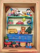 Russ Berrie Vintage Wood Box With Miniature Childrenand039s Asstd.christmas Xmas Toys