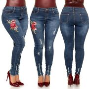 Sexy Womenand039s Plus Size Curvy Skinny Jeans Embroidered Ripped Pants Blue Uk 10-20
