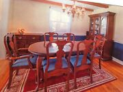 Vintage Cherry Wood Dining Room Set 6 Chairs, 2 Leafs, Hutch And China Closet