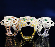 Lion Face Shaped 925 Sterling Silver Engagement Customized Cz Trendy Ring
