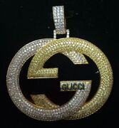 G Letter 4 Long 925 Sterling Silver/10k Yellow Gold Cz Pendant